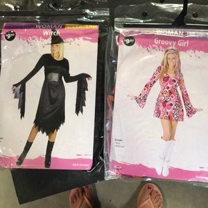 Set of 2 women's costumes. Witch L. Groovy girl M